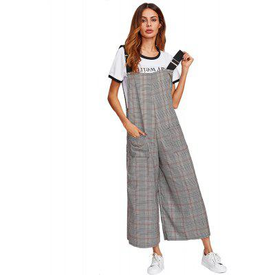 Women'S Fashion Black and White Lattice Casual Belt Pants