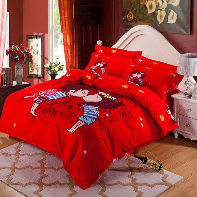 Autumn Gules Pattern Bedding Article Four Piece Suit