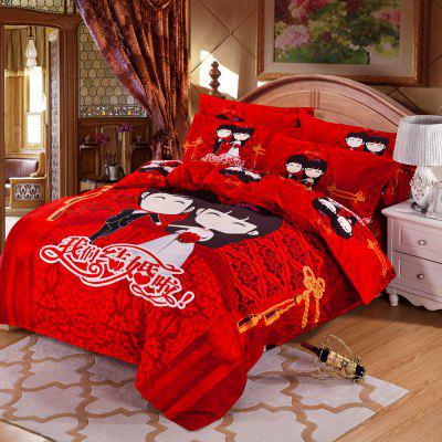 Autumn China  Happy Pattern Bedding article Four piece suit