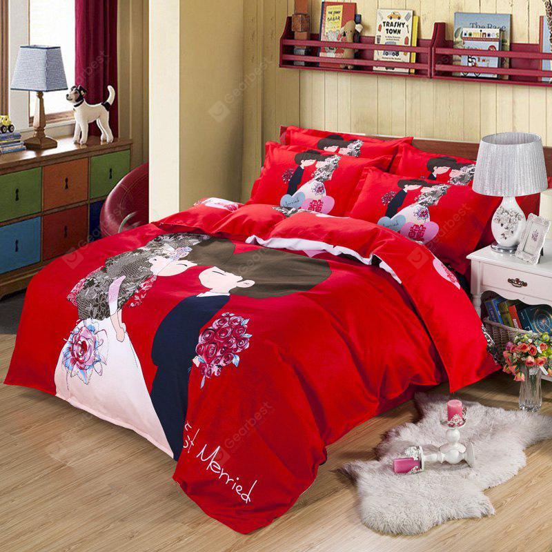 Autumn China  Gules Pattern Bedding article Four piece suit