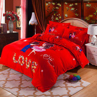 Autumn Loving life Pattern Bedding article Four piece suit