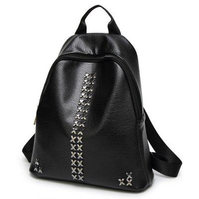 Double Shoulder Bag of The College Feng Rivet Schoolbag Student Travel Backpacking TideBackpacks<br>Double Shoulder Bag of The College Feng Rivet Schoolbag Student Travel Backpacking Tide<br><br>Capacity: 11 - 20L<br>Color: Black<br>For: Casual, Work<br>Gender: For Women<br>Material: PU Leather<br>Package Contents: 1 x Backpacks<br>Package size (L x W x H): 29.00 x 11.00 x 33.00 cm / 11.42 x 4.33 x 12.99 inches<br>Package weight: 0.5000 kg<br>Strap Length: 30cm<br>Style: Sport, Business, Fashion<br>Type: Backpack