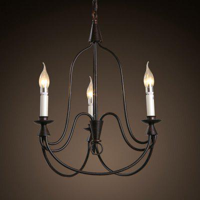 3 E14 Base d'ampoule Nordic Vintage Rust Metal Chandelier Light