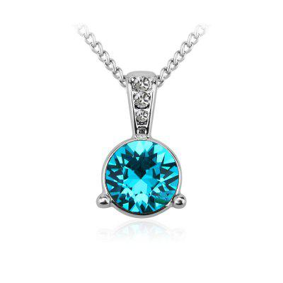 Buy SILVER AND BLUE 18K White Gold Swarovski Pendant Necklace Best Silver Necklace for Women for $18.54 in GearBest store