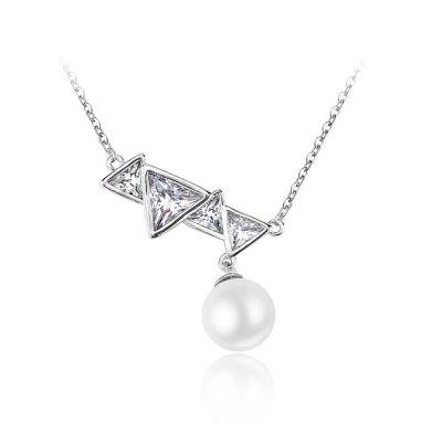 Copper Zircon White Beaded Pearl Silver Necklace For Women