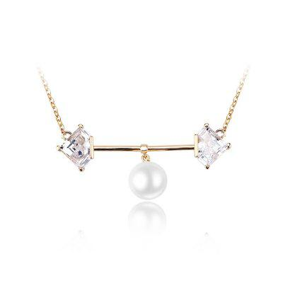 Copper Zircon White Beaded Pearl with Balance Beam Necklace