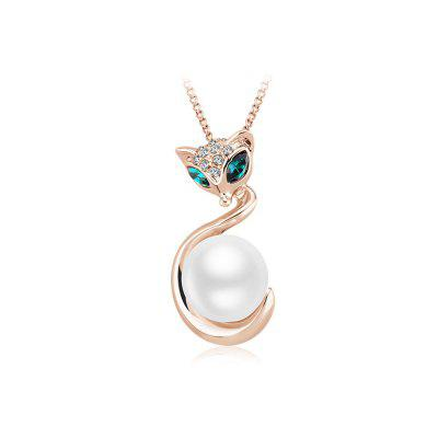 Copper - Plated White Pearl Auger Diamond Sexy Fox Necklace