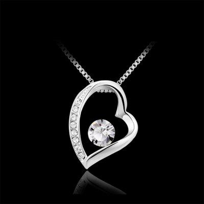 Sterling silver Shining Cubic Zirconia Lovely Heart Pendant Necklace sterling silver cubic zirconia accent infinity ring