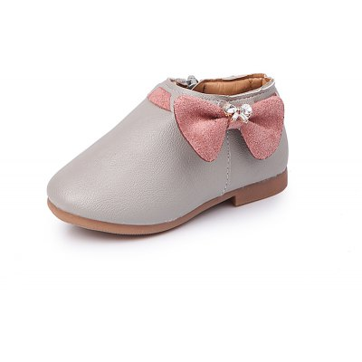 Bowknot Girls Leather Shoes with Soft Cotton Sole