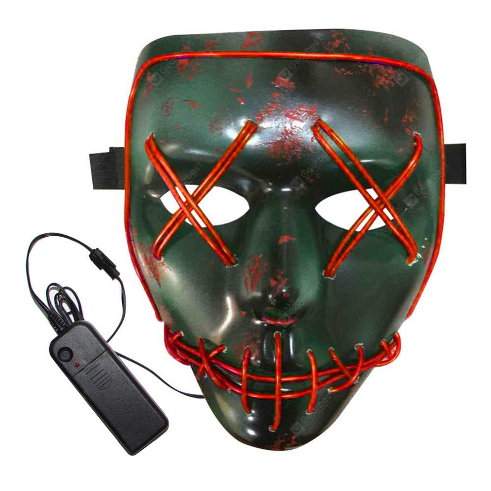 BRELONG Halloween Mask Green Full Blood Horror EL Cold Light for Make-up Party - RED