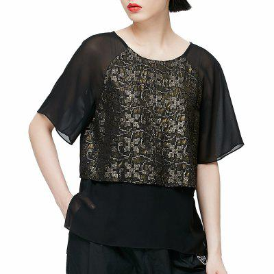 VING Short-Sleeve O-neck Shirt Embroidery Chiffon Top Female Solid Lace Shirt