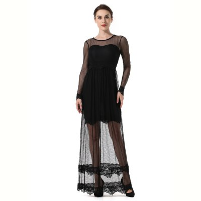 2017 New Net Yarn Splicing Hollow Out A Round Lace Dress