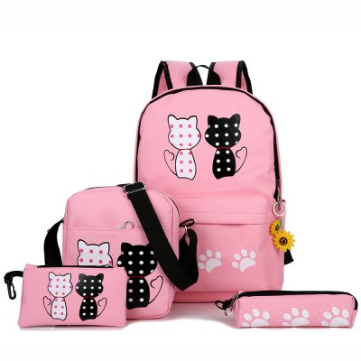 Girl Backpack 4 packs with Pendant Backpack