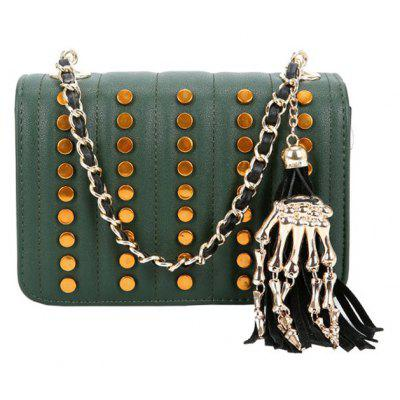New Liu Nail Shoulder Bag Tassel Skeleton Small Square Bag