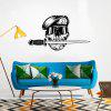DSU Mouth With Knife Skull Wearing Sunglasses Soldiers Wall Stickers - BLACK