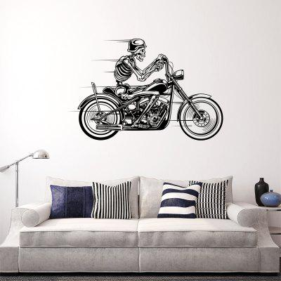 DSU Skeleton Ride A Motorcycle  Simple Speeding Art Wall Stickers