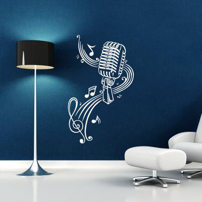 DSU Microphone and Staff Music Simple Art Wall Stickers