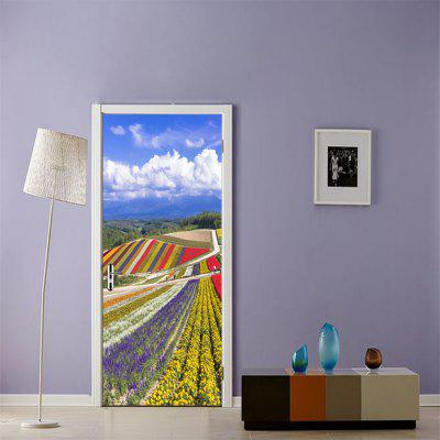 Colorful Terraced Fields and Blue Sky Wall Sticker Mural Bedroom Door Poster Home Decor