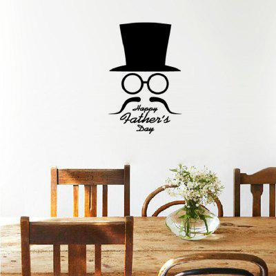 DSU WS0018 Simple Art Wall Stickers Hat Glasses and Moustache Contour
