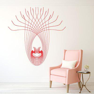DSU WS0028 Peacock Line Abstrac Simple Art Wall Stickers