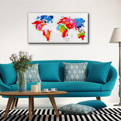 YHHP Hand-Painted Abstract World Map One Panel Canvas Oil Painting For Home Decoration