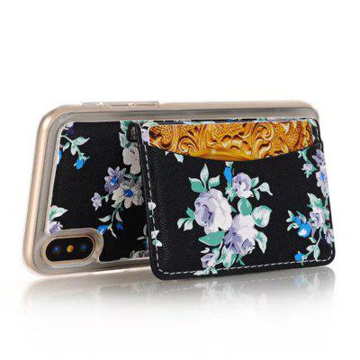 Stylish Color Printing Rose Flower Leather Case with Card Slots for iPhone X