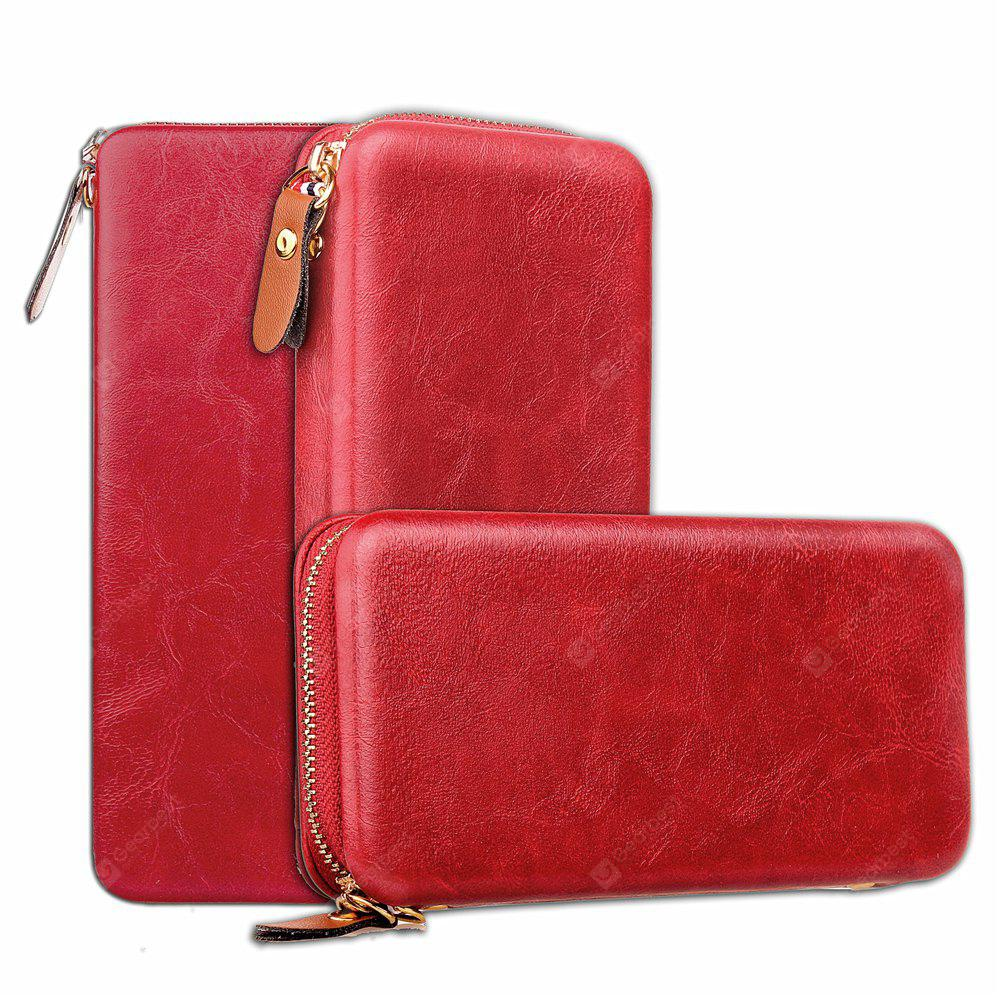 Magnetic zipper bag Card Lanyard Pu Leather for General
