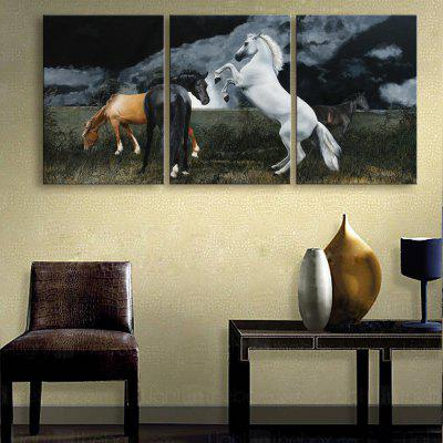 Special Design Frameless Paintings The Moonlight with the Horse of 3PCS- 16 X 11 INCH (40CM X 28CM) 16 X 11 INCH (40CM X 28CM) BLACK AND BROWN BLACK AND BROWN