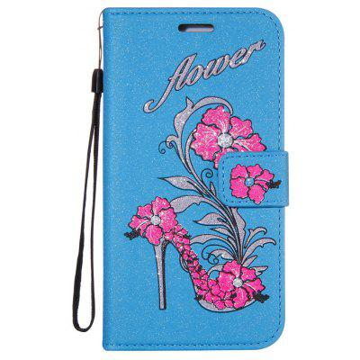 Buy BLUE Wkae Printed Rattan Shoes Leather Case Cover with Hold Lanyard and Card Slots for Huawei Changxiang 6C for $5.90 in GearBest store