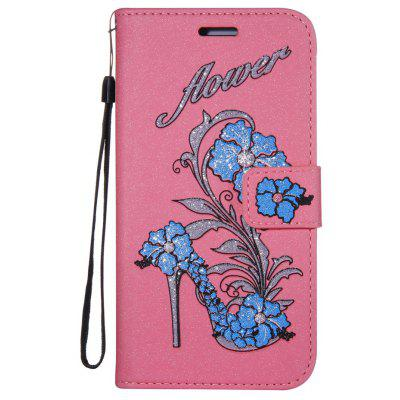 Wkae Printed Rattan Shoes Leather Case Cover with Hold Lanyard and Card Slots for Huawei P8 LITE