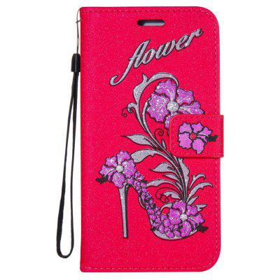 Wkae Printed Rattan Shoes Leather Case Cover with Hold Lanyard and Card Slots for Huawei P9 PLUS