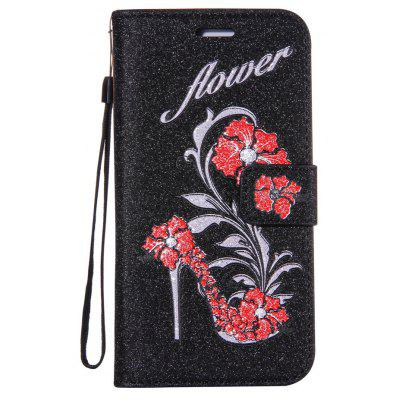 Buy BLACK Wkae Printed Rattan Shoes Leather Case Cover with Hold Lanyard and Card Slots for Huawei P9 PLUS for $4.79 in GearBest store