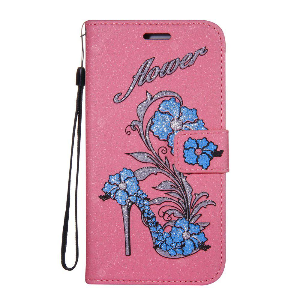 Wkae Printed Rattan Shoes Leather Case Cover with Hold Lanyard and Card Slots for Huawei P10