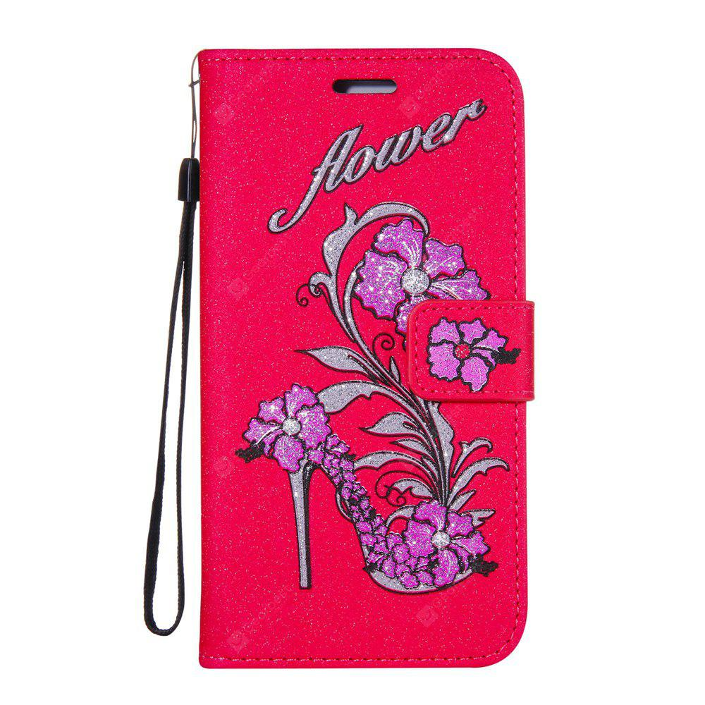 Wkae Printed Rattan Shoes Leather Case Cover with Hold Lanyard and Card Slots for Huawei P10 Plus