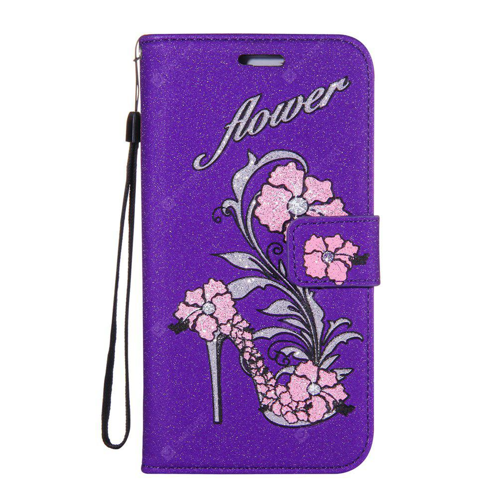 Wkae Printed Rattan Shoes Leather Case Cover with Hold Lanyard and Card Slots for Huawei Y6 Pro