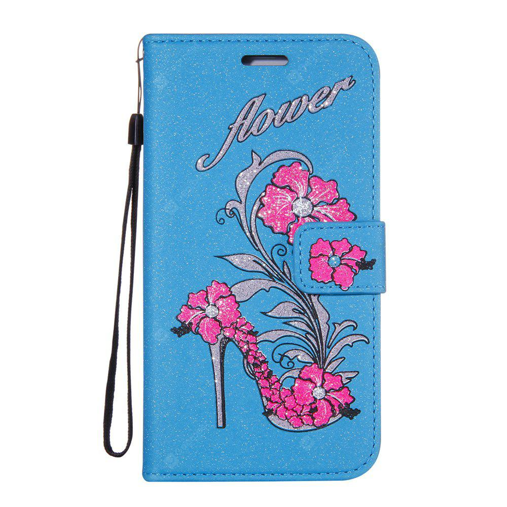 BLUE Wkae Printed Rattan Shoes Leather Case Cover with Hold Lanyard and Card Slots for Huawei Y6 Pro