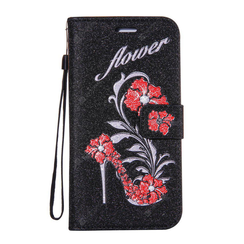 BLACK Wkae Printed Rattan Shoes Leather Case Cover with Hold Lanyard and Card Slots for Huawei Y6 Pro
