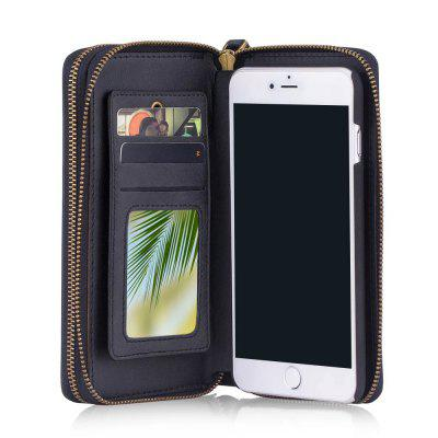 Wkae Multi-Functional Retro Double Zipper Leather Case Cover for IPhone 7 Plus / 8 Plus