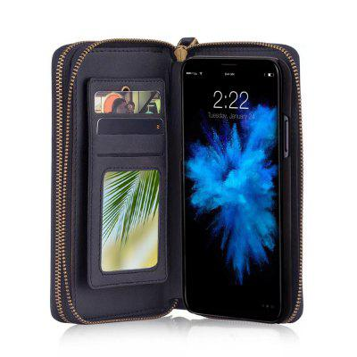 Wkae Retro Double Zipper Leather Wallet Case Cover for iPhone X