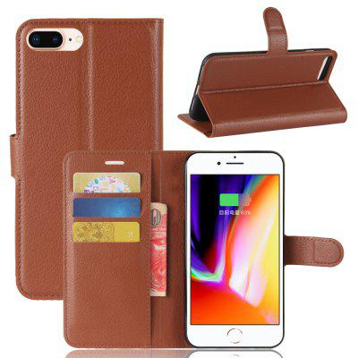 Solid Color Litchi Pattern Wallet Style Front Buckle Flip Pu Leather Case with Card Slots for iPhone 8 Plus