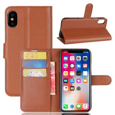 Solid Color Litchi Pattern Wallet Style Front Buckle Flip Pu Leather Case with Card Slots for iPhone X