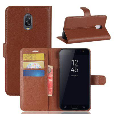 Solid Color Litchi Pattern Wallet Style Front Buckle Flip Pu Leather Case with Card Slots for Samsung Galaxy J7 Plus