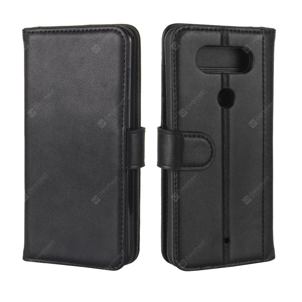 Solid Color Real Cow Leather Wallet Style Front Buckle Flip Case with Card Slots for LG Q8