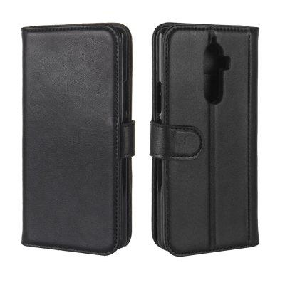 Solid Color Real Cow Leather Wallet Style Front Buckle Flip Case with Card Slots for Lenovo K8 Note