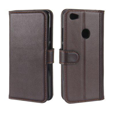 Solid Color Real Cow Leather Wallet Style Front Buckle Flip Case with Card Slots for Xiaomi Redmi Note 5A