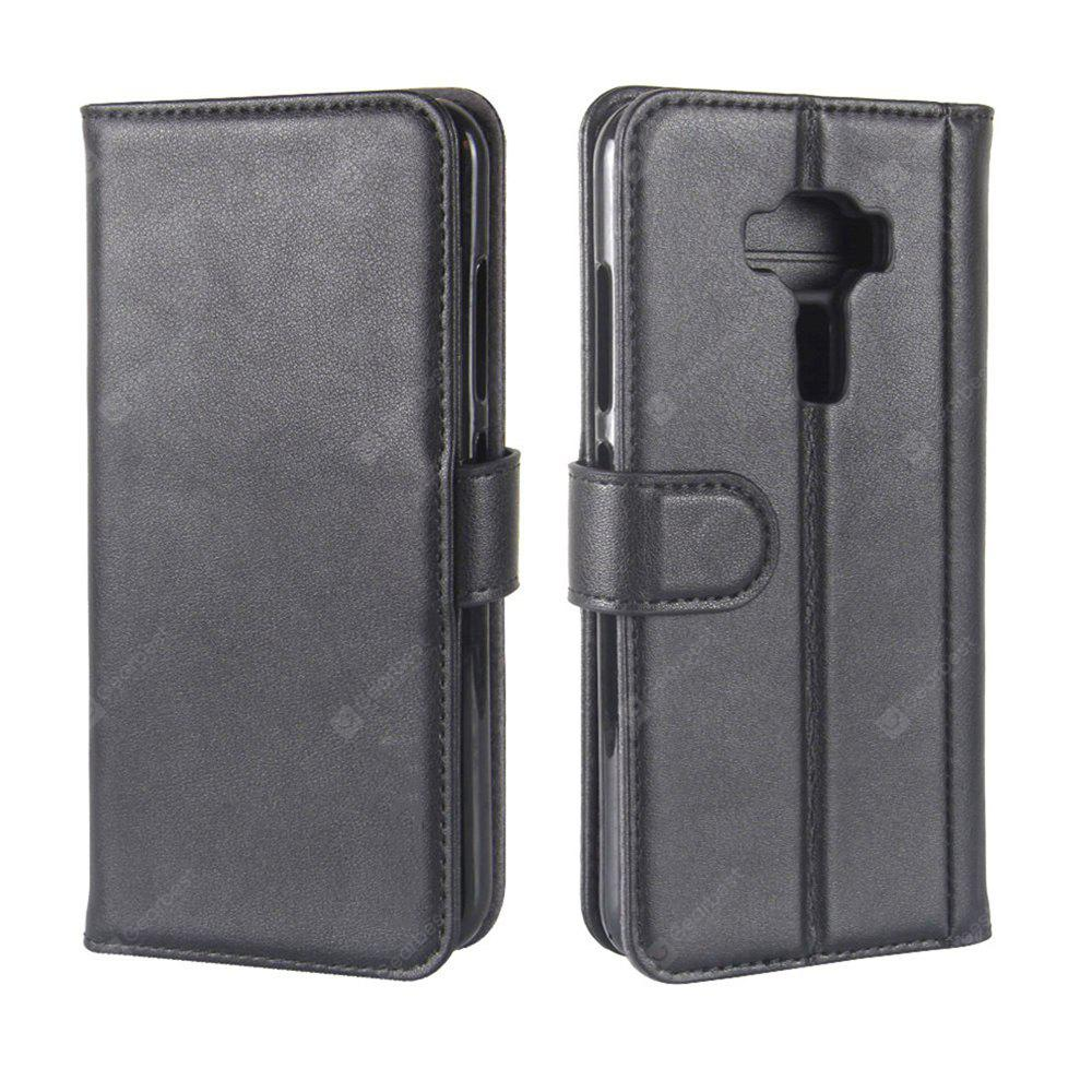 Solid Color Real Cow Leather Wallet Style Front Buckle Flip Case with Card Slots for ASUS Zenfone 3 5.2 inch (ZE520KL)