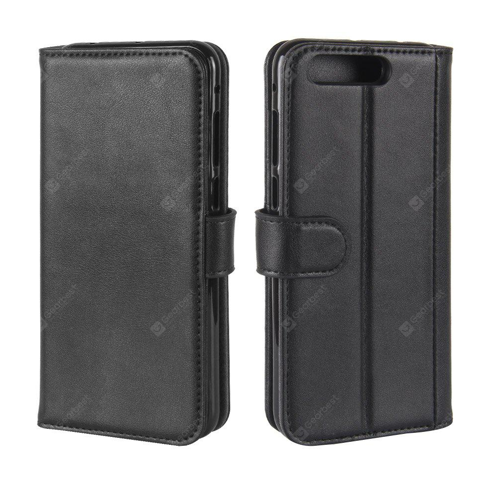 Solid Color Real Cow Leather Wallet Style Front Buckle Flip Case with Card Slots for ASUS Zenfone 4 Pro 5.5 inch (ZS551KL)