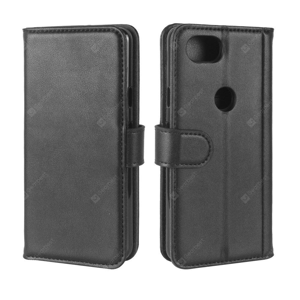 Solid Color Real Cow Leather Wallet Style Front Buckle Flip Case with Card Slots for Google Pixel 2