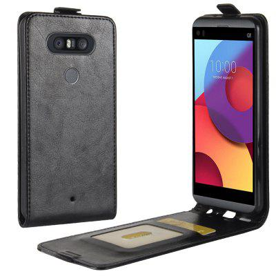 Durable Crazy Horse Pattern Up and Down Style Flip Buckle PU Leather Case for LG Q8