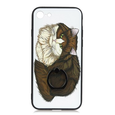 KaZiNe Azine Embossment Tpu + Pc Finger Ring Kickstand Cell Phone Case Coffee Cat  for iPhone 7/8